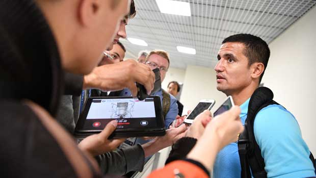 Tim Cahill chats to the media after Australia's 1-1 draw with Cameroon.