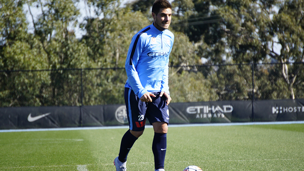 Bruno Fornaroli during a Melbourne City training session.
