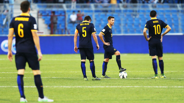 Nathan Burns prepares to re-start the contest when the Socceroos lost to Jordan in Amman.