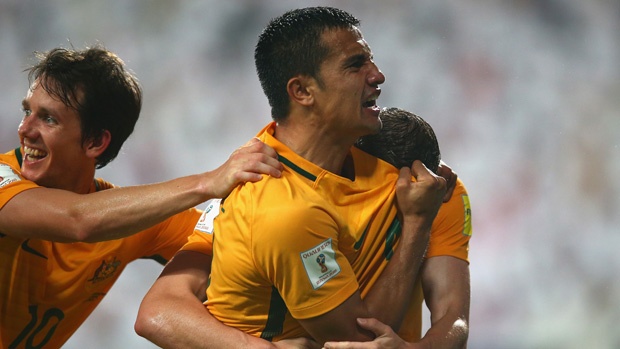 Tim Cahill celebrates after scoring against the UAE in World Cup Qualifying.