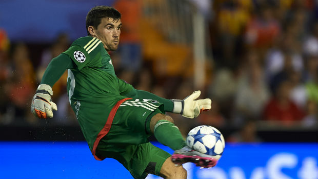 Mat Ryan in goals for Valencia in the UEFA Champions League.