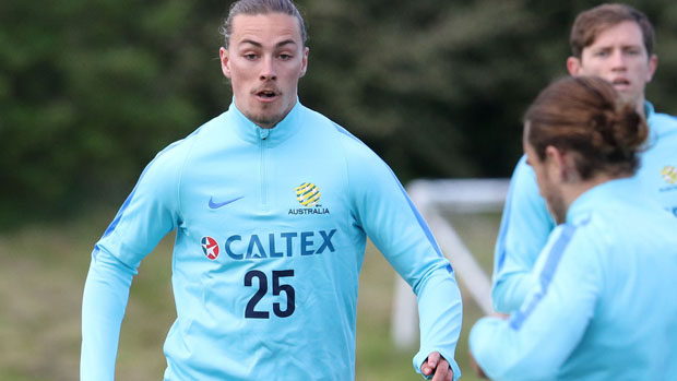 Jackson Irvine on the ball during a Socceroos training session in England.