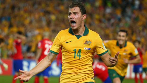 Socceroo James Troisi celebrates his winner in the AFC Asian Cup final.