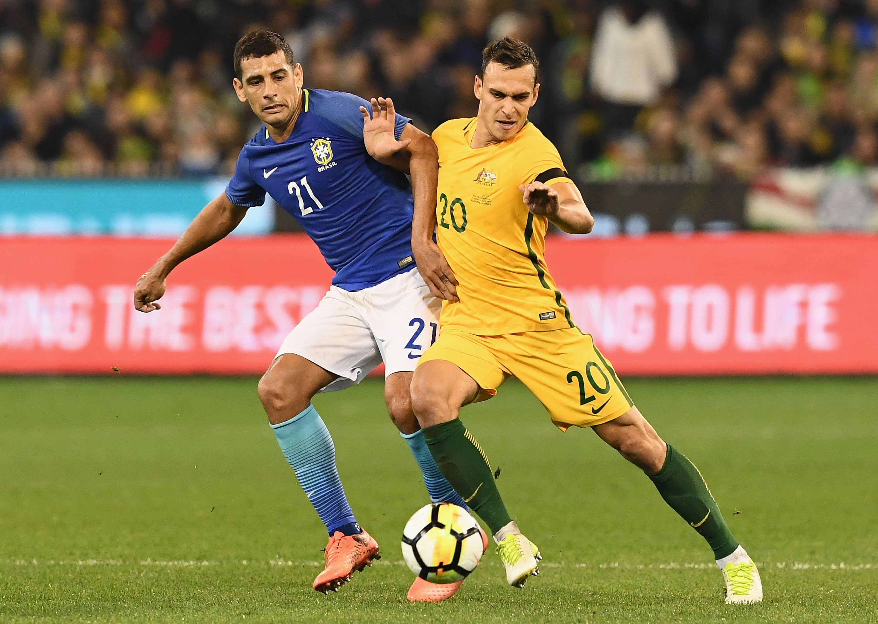 Trent Sainsbury was working hard to keep it tight at the back as the sides went to the break with Brazil leading 1-0.