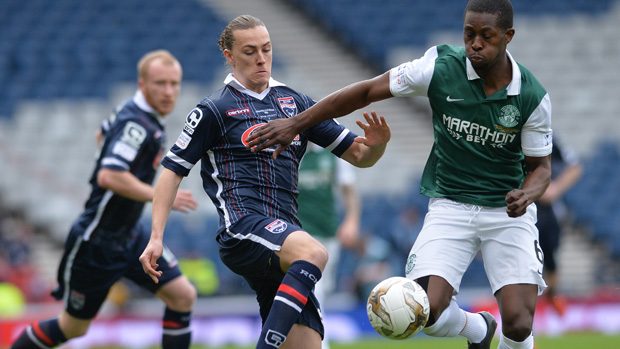 Jackson Irvine set up the first goal in Ross County's 2-1 League Cup win over Hibernian.