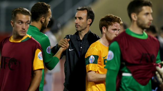 Aurelio Vidamr with the Young Socceroos at the AFC U-22 Championship.