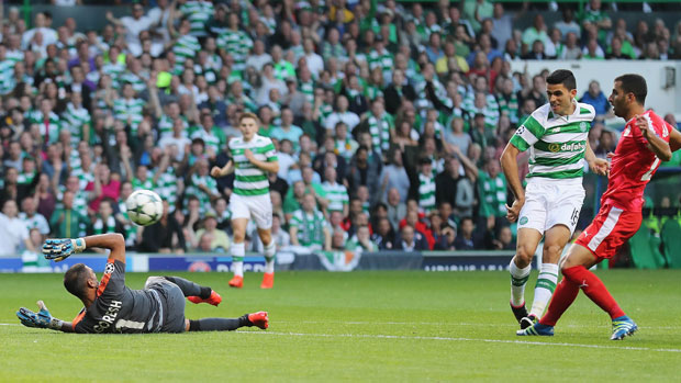 Tom Rogic scores a goal in qualifying for the UEFA Champions League.