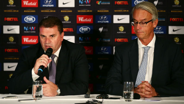 Socceroos coach Ange Postecoglou alongside FFA CEO David Gallop at Wednesday morning's press conference.