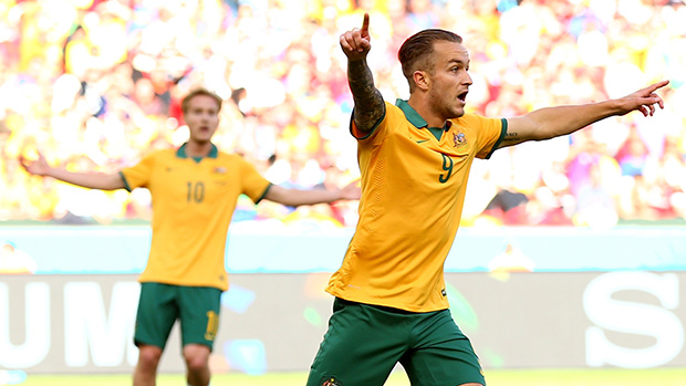 Adam Taggart in the Socceroos World Cup match against Spain.