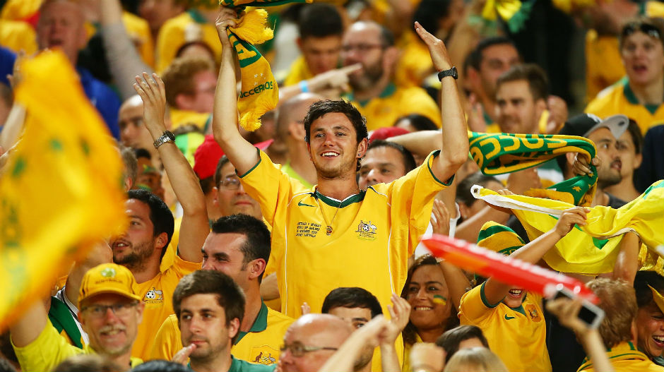 Football fans show their support for the Socceroos at the Asian Cup.