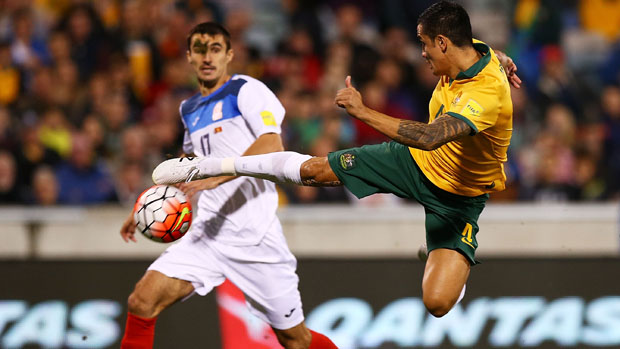 Tim Cahill attempts a spectacular strike on goal in the first-half against Kyrgyzstan.