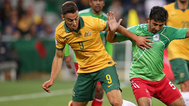 Chris Ikonomidis in action for the Socceroos against Bangladesh in September.