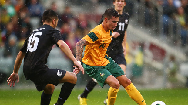 Jamie Maclaren in action for the Olyroos.