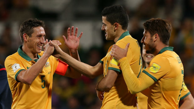 The Caltex Socceroos celebrate Tom Rogic scoring against Bangladesh in Perth.