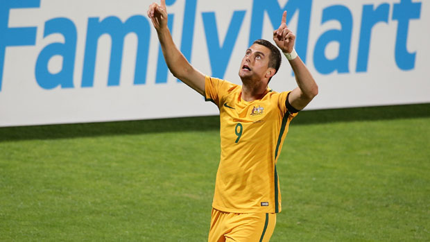 Tomi Juric celebrates after scoring  in Australia's WCQ win over Iraq in Perth.