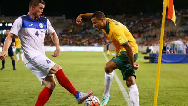 Socceroo defender James Meredith goes on the attack against Kyrgyzstan.