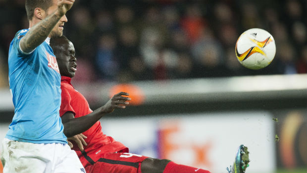 Awer Mabil juggles the ball against Napoli in the Europa League.