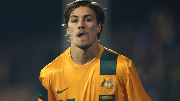 Jackson Irvine in action for the Socceroos in 2013.