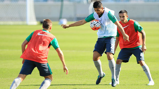 Massimo Luongo on the ball during a Socceroos training session in Canberra.