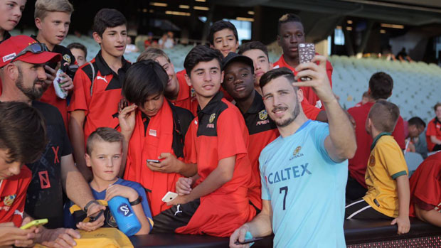 Mat Leckie with fans in Adelaide.