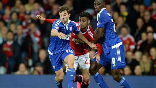 Tommy Oar on the ball during Ipswich Town's Capital One Cup clash with Manchester United.