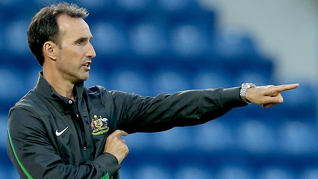 Olyroos coach Aurelio Vidmar on the sideline during the AFC U-22 Championship.
