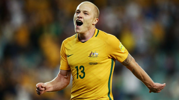 Aaron Mooy celebrates scoring the Caltex Socceroos' second goal against Jordan in a WCQ at Allianz Stadium.
