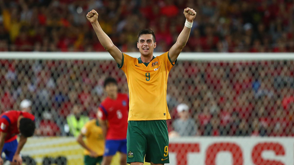 Tomi Juric celebrates the Socceroos' Asian Cup triumph over Korea Republic.