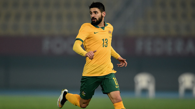 Aziz Behich on the ball during the Socceroos' recent friendly with FYR Macedonia.