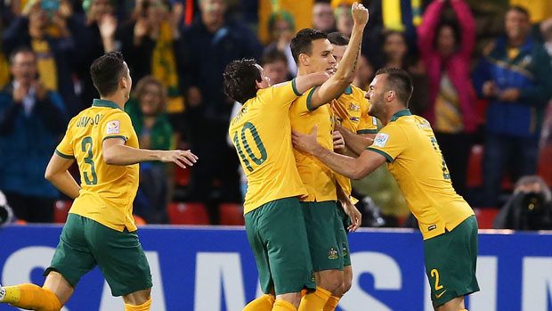Caltex Socceroos players celebrate Trent Sainsbury's goal against the UAE in the 2015 Asian Cup semi-finals.