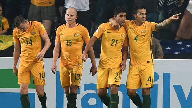 Socceroos players celebrate Tim Cahill's strike against the UAE.