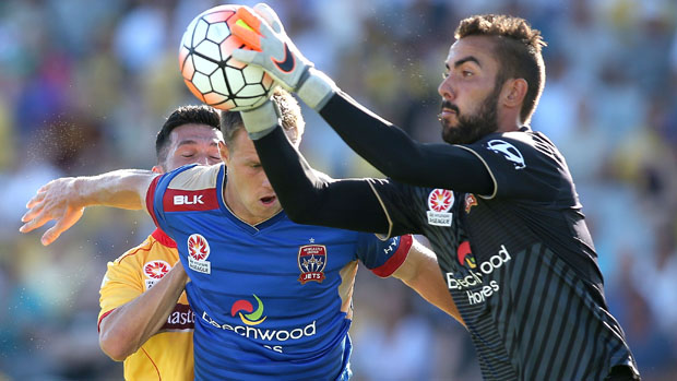 Mark Birighitti in action for Newcastle Jets.