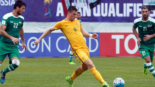 Tomi Juric on the ball during Australia's 1-1 draw with Iraq.
