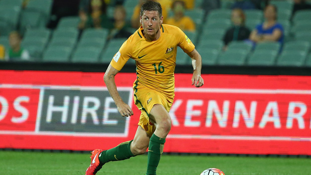 Nathan Burns on the ball for the Caltex Socceroos against Tajikistan.