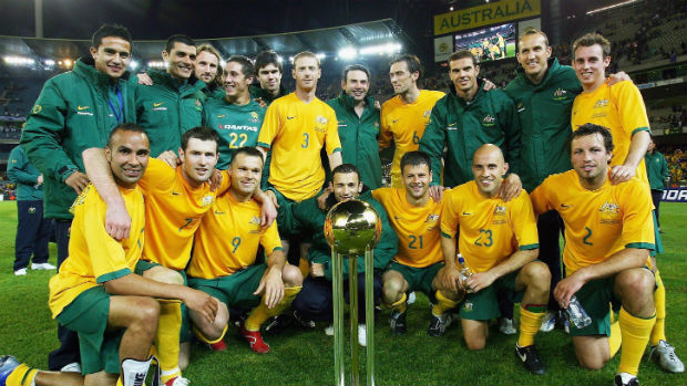 The Socceroos celebrate their international friendly win over Greece in 2006.