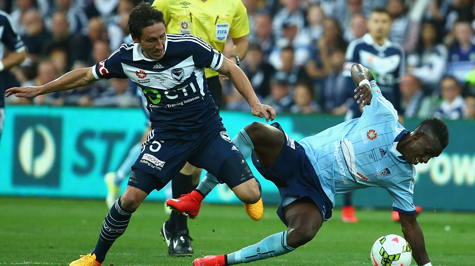 8. Mark Milligan: Melbourne Victory, 69 tackles in total with 82.6 percent won = 57 tackles won