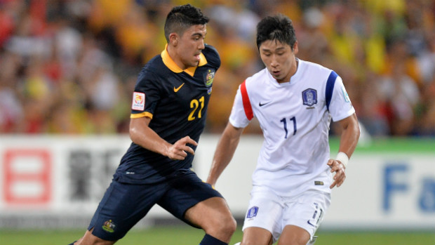 Midfielder Massimo Luongo on the ball against Korea Republic in Brisbane.