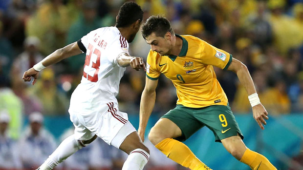 Juric on the ball during the Socceroos' 2-0 win over UAE.