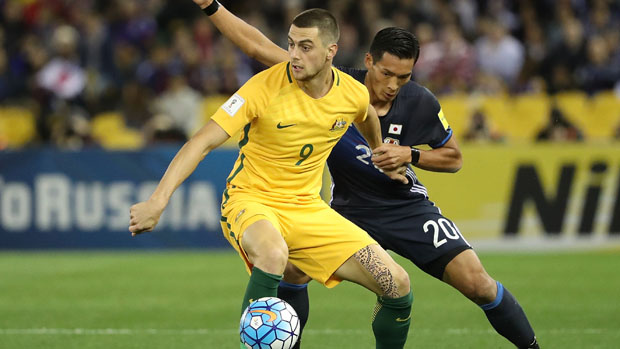 Tomi Juric in action for the Caltex Socceroos against Japan in October.