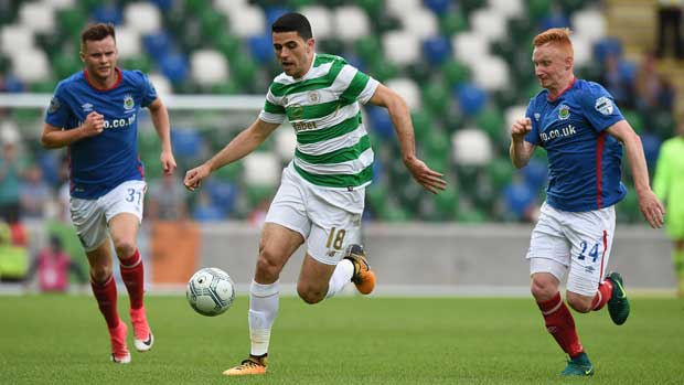 Tom Rogic against Linfield.