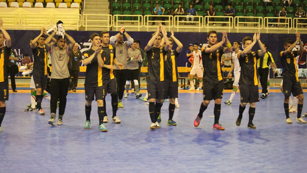 The Futsalroos acknowledge the crowd at the 2014 AFC Futsal Championship.