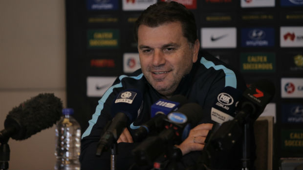Caltex Socceroos coach Ange Postecoglou at Wednesday's press conference.