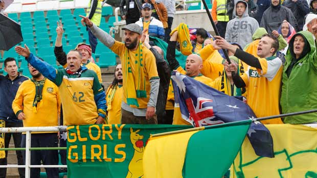 Caltex Socceroos fans show their support in the 1-1 draw with Iraq.