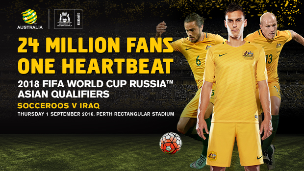 The Caltex Socceroos kick off their Road to Russia in Perth against Iraq on September 1.