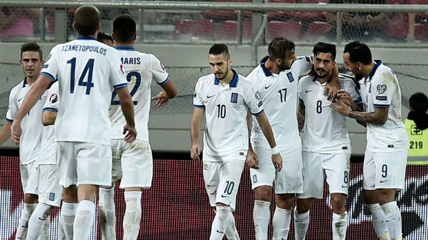 Greece celebrate Panagiotis Kone scoring against Hungary in Euro 2016 qualifying.