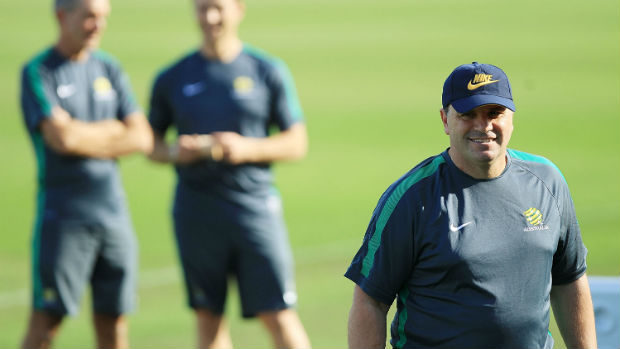 Caltex Socceroos coach Ange Postecoglou on the training ground.