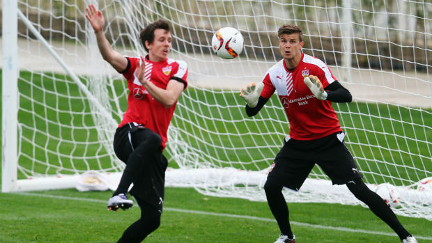 Socceroos Robbie Kruse and Mitch Langerak in training with German side VfB Stuttgart.