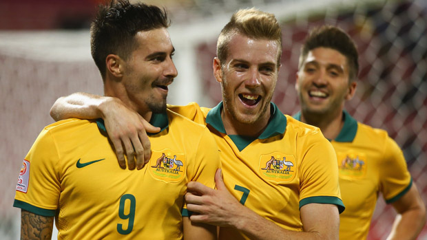 Jamie Maclaren celebrates after scoring for the Olyroos at the 2016 AFC U-23 Championship.