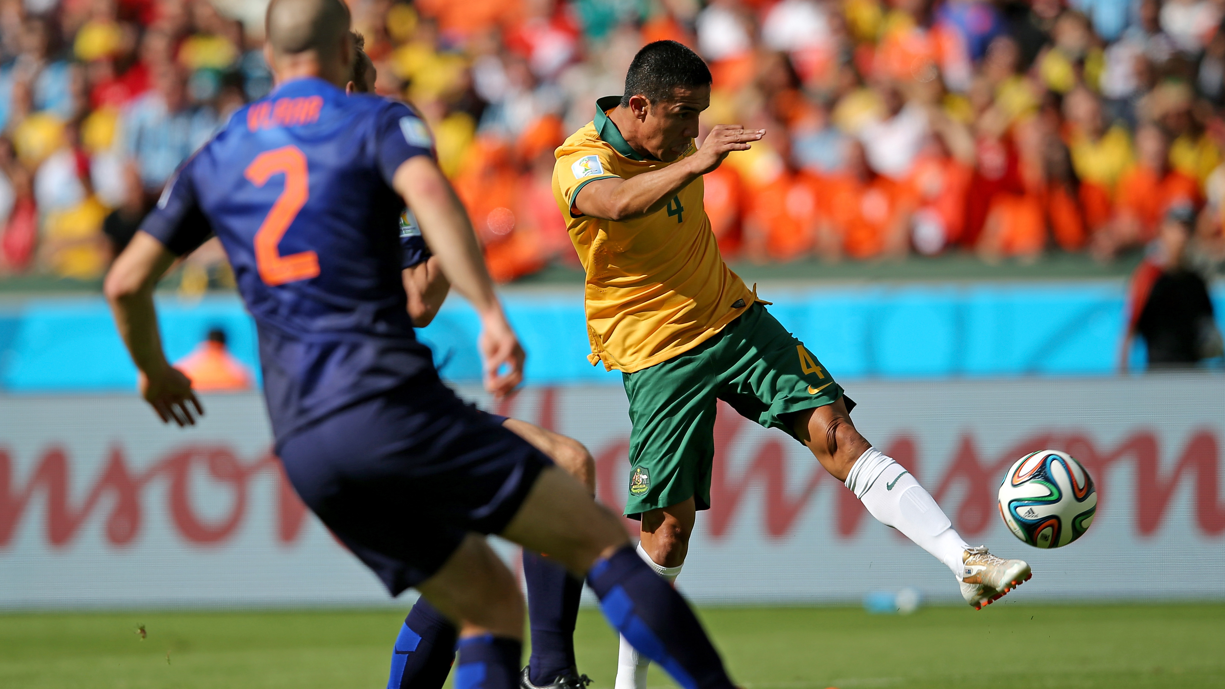Tim Cahill's incredible Volley against the Netherlands at the FIFA World Cup.