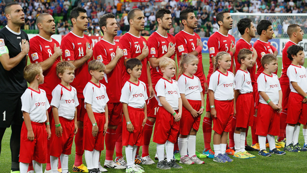 Jordan players sing the national anthem prior to their clash with Japan at January's Asian Cup.